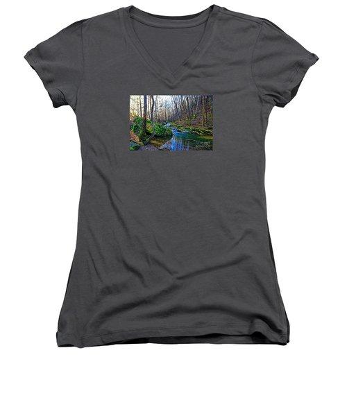 Emory Gap Branch Women's V-Neck T-Shirt (Junior Cut) by Paul Mashburn