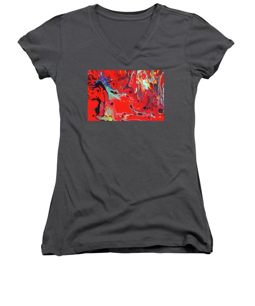 Emotional Soul - Red Abstract Canvas Painting Women's V-Neck T-Shirt (Junior Cut) by Gordan P Junior