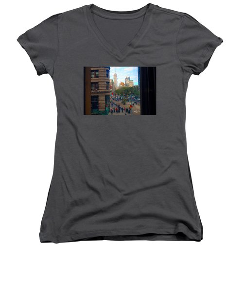 Women's V-Neck T-Shirt (Junior Cut) featuring the photograph Empire State Building - Crackled View 2 by Madeline Ellis
