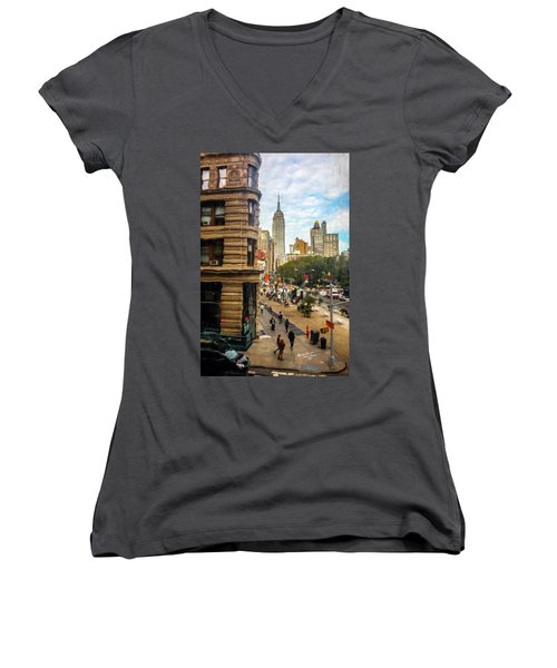 Women's V-Neck T-Shirt (Junior Cut) featuring the photograph Empire State Building - Crackled View 3 by Madeline Ellis