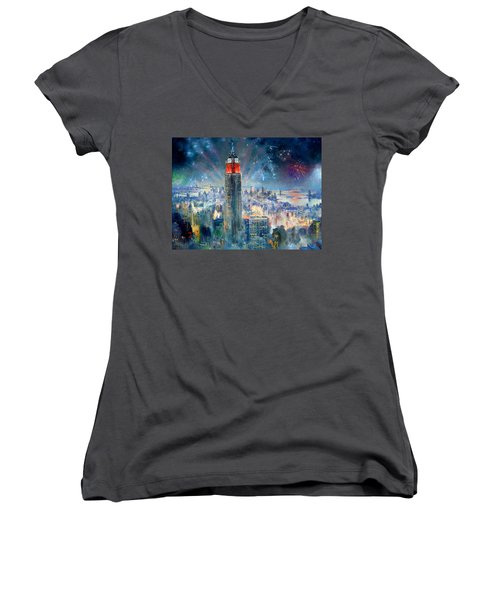 Empire State Building In 4th Of July Women's V-Neck (Athletic Fit)