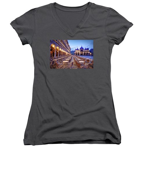 Empty Cafe On Piazza San Marco - Venice Women's V-Neck (Athletic Fit)