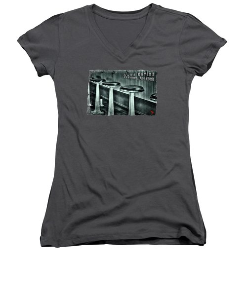 Empty Counter Stools Jerome Arizona Women's V-Neck T-Shirt