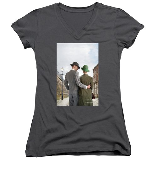 Empty Street With Victorian Buildings Women's V-Neck T-Shirt