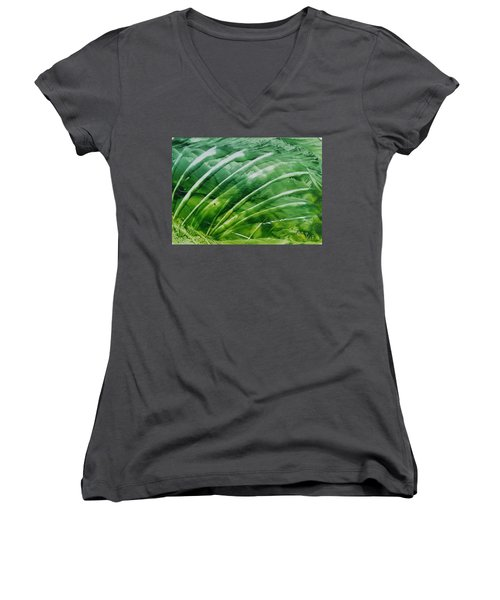 Encaustic Abstract Green Fan Foliage Women's V-Neck