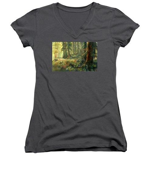Enchanted Rain Forest Women's V-Neck T-Shirt (Junior Cut) by Sherry Shipley
