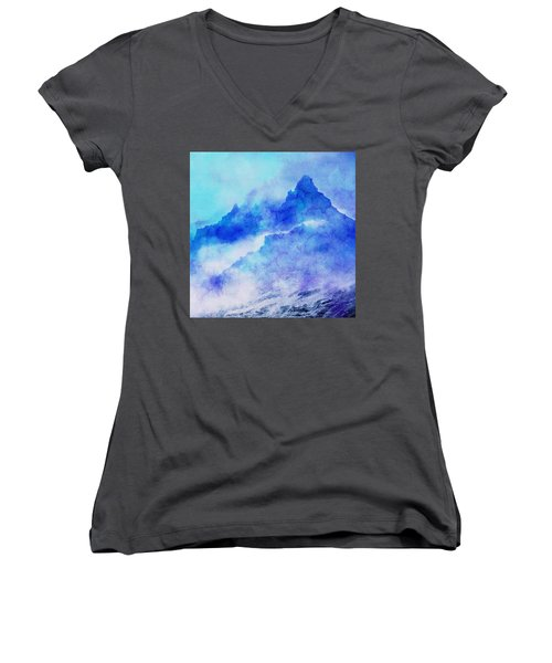 Women's V-Neck T-Shirt (Junior Cut) featuring the digital art Enchanted Scenery #4 by Klara Acel