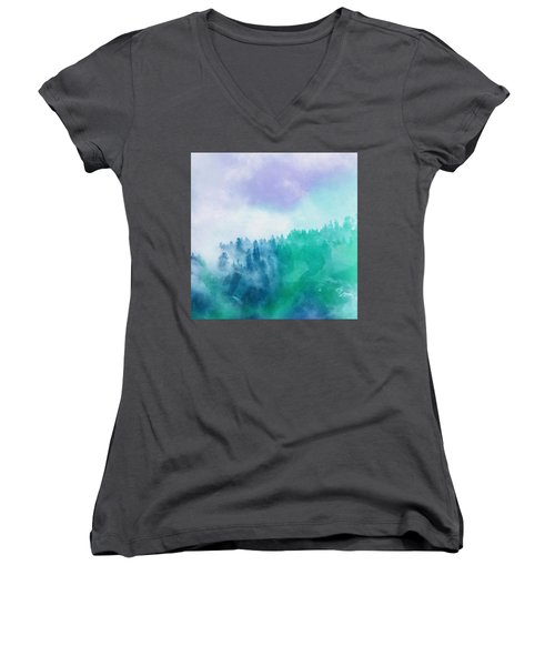 Women's V-Neck T-Shirt (Junior Cut) featuring the photograph Enchanted Scenery by Klara Acel