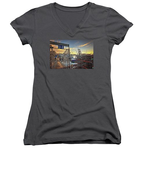 End Of Fishing Day Women's V-Neck (Athletic Fit)