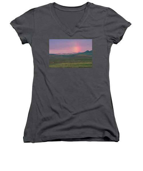 Women's V-Neck T-Shirt (Junior Cut) featuring the photograph End Of Rainbow by Hitendra SINKAR