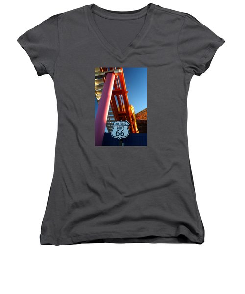 End Of Route 66 2 Women's V-Neck (Athletic Fit)