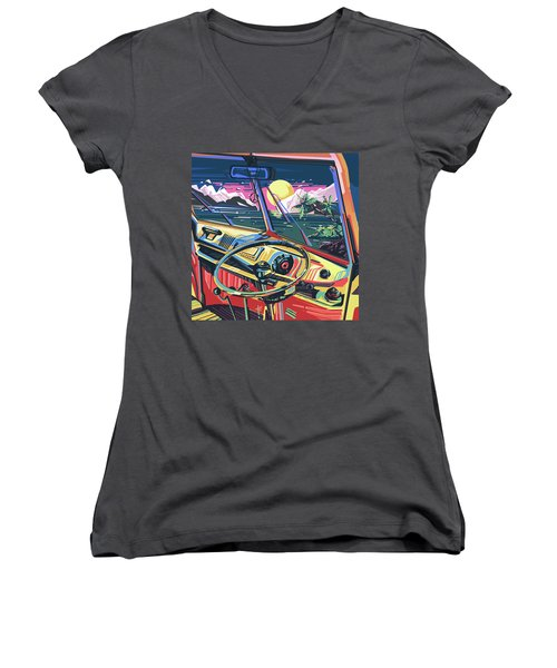 End Of Summer Women's V-Neck T-Shirt (Junior Cut) by Bekim Art