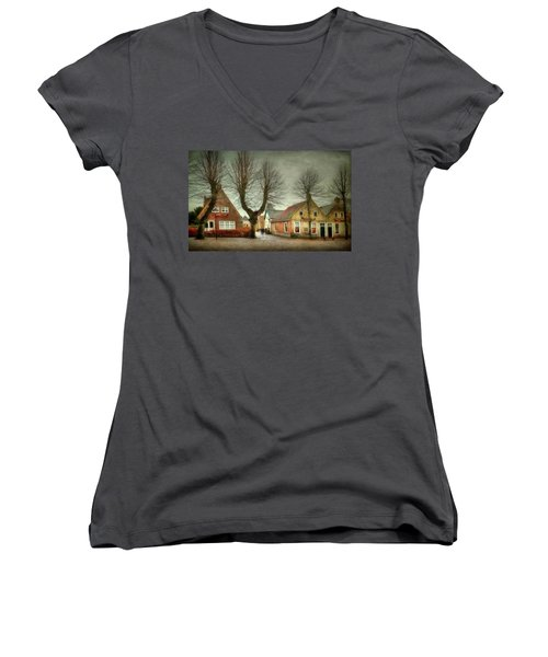 Women's V-Neck T-Shirt (Junior Cut) featuring the photograph End Of The Day by Annie Snel