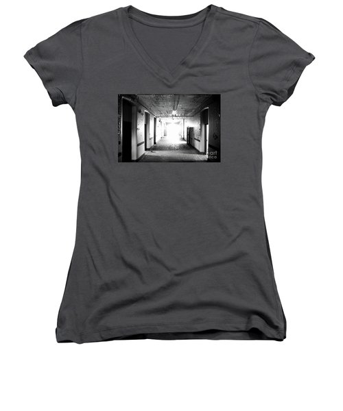 Women's V-Neck T-Shirt (Junior Cut) featuring the photograph End Of The Hall by Randall Cogle