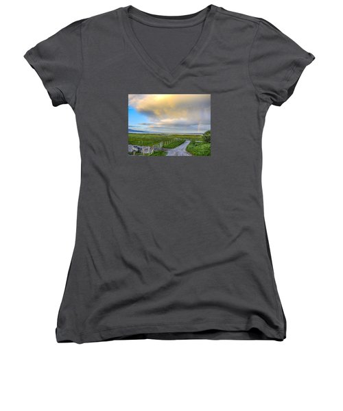 End Of The Road, Brora, Scotland Women's V-Neck T-Shirt (Junior Cut) by Sally Ross