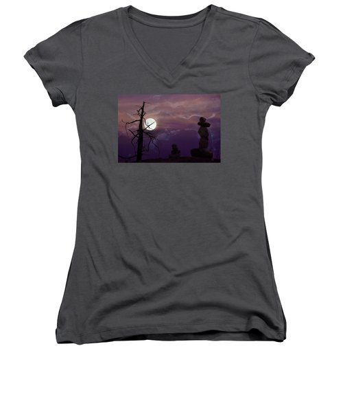 End Of Trail Women's V-Neck T-Shirt (Junior Cut) by Ed Hall