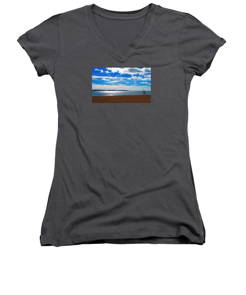 Women's V-Neck T-Shirt (Junior Cut) featuring the photograph Endless Sky by Valentino Visentini