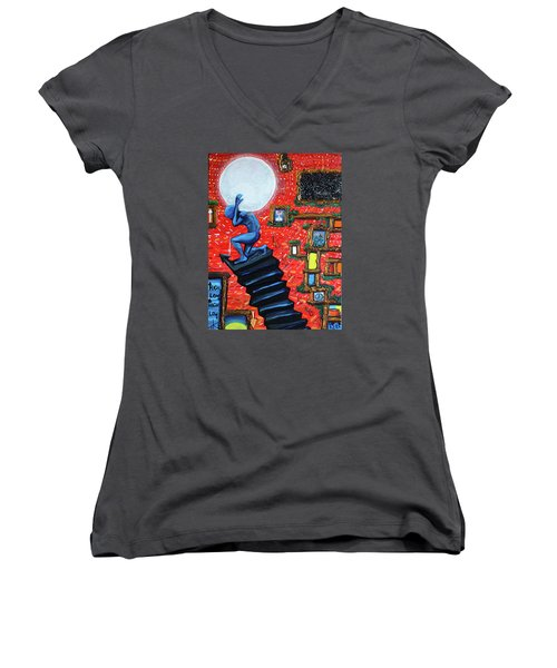 Women's V-Neck T-Shirt (Junior Cut) featuring the painting Energy Flow, The Active Space And The Effects Of The Rising Moon by Similar Alien