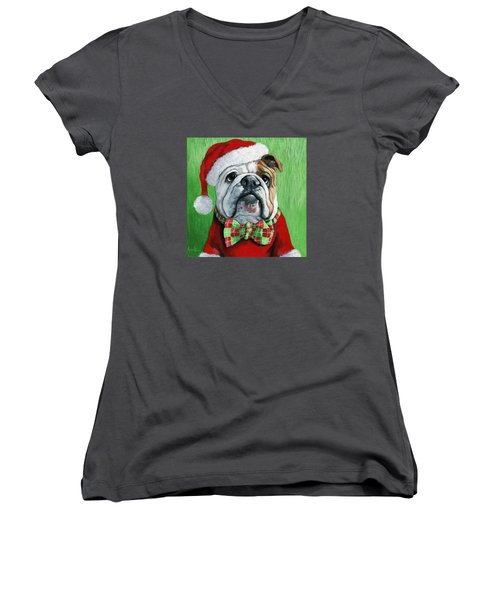 Holiday Cheer -english Bulldog Santa Dog Painting Women's V-Neck