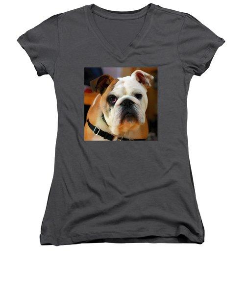 English Bulldog Women's V-Neck