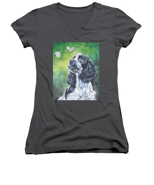 English Cocker Spaniel  Women's V-Neck T-Shirt (Junior Cut) by Lee Ann Shepard