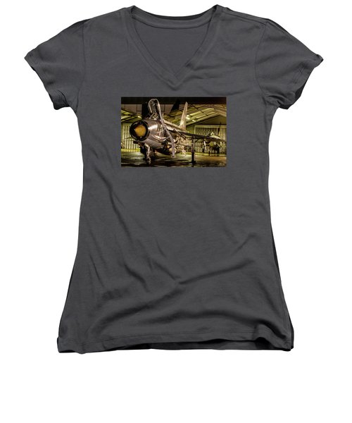 English Electric Lightning Qra Shed Women's V-Neck T-Shirt (Junior Cut) by Ken Brannen