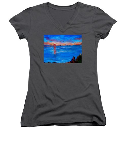 Enjoying The Sunset Differently Women's V-Neck (Athletic Fit)