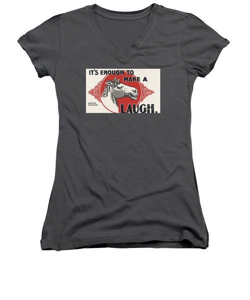 Women's V-Neck T-Shirt (Junior Cut) featuring the painting Enough Is Enough by Pg Reproductions