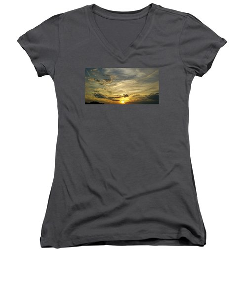 Women's V-Neck featuring the photograph Enter The Evening by Robert Knight