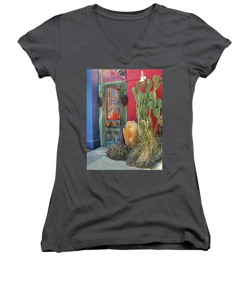 Enter - You Are Always Welcome Women's V-Neck T-Shirt (Junior Cut) by Lucinda Walter