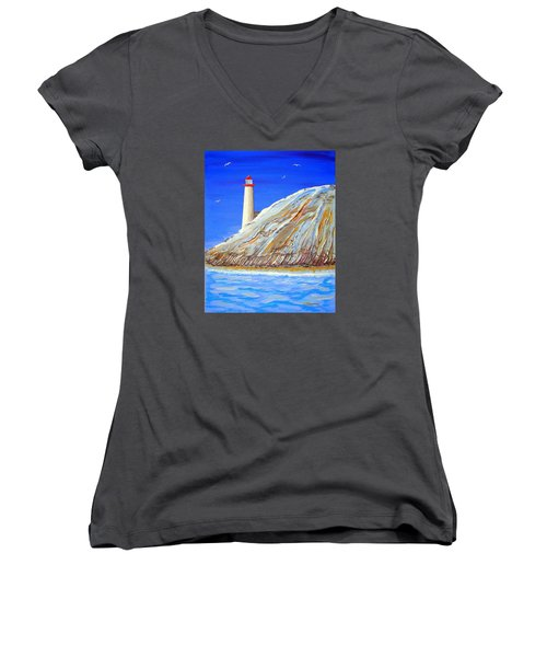 Women's V-Neck T-Shirt (Junior Cut) featuring the painting Entering The Harbor by J R Seymour