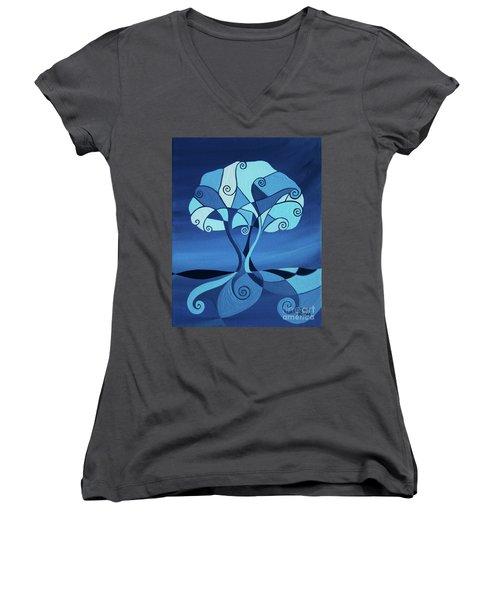 Enveloped In Blue Women's V-Neck T-Shirt