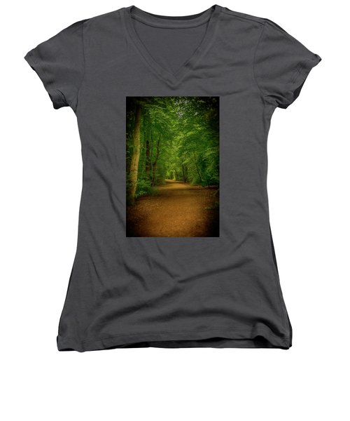 Epping Forest Walk Women's V-Neck T-Shirt (Junior Cut) by David French