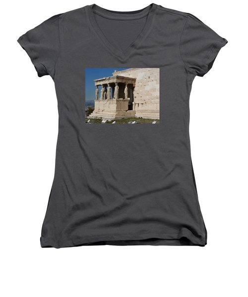 Erechteion With Nike Temple Women's V-Neck T-Shirt (Junior Cut)