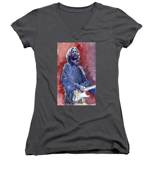 Eric Clapton 04 Women's V-Neck (Athletic Fit)
