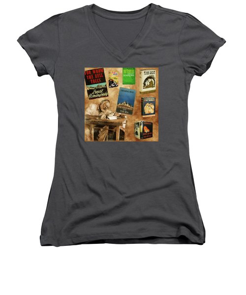 Ernest Hemingway Books 2 Women's V-Neck T-Shirt (Junior Cut) by Andrew Fare