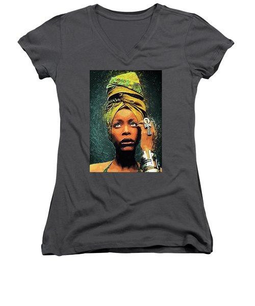 Erykah Badu Women's V-Neck T-Shirt