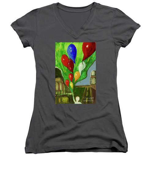 Women's V-Neck T-Shirt (Junior Cut) featuring the painting Escape by Paul McKey