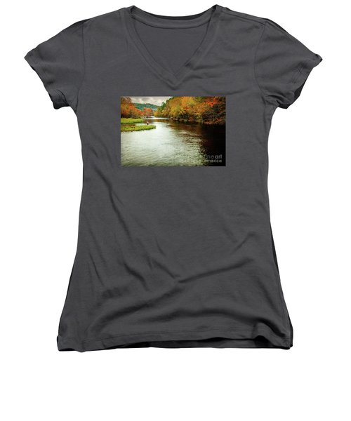 Escape To Beaver's Bend Women's V-Neck T-Shirt (Junior Cut) by Tamyra Ayles