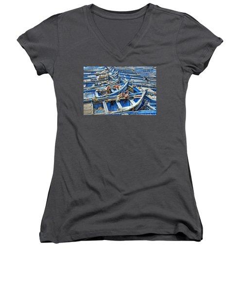 Essaouira Blue Fishing Boats Women's V-Neck
