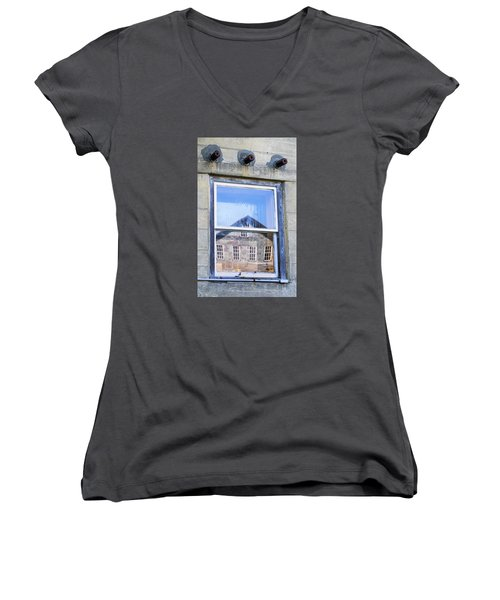 Women's V-Neck T-Shirt (Junior Cut) featuring the photograph Estey Window Reflection by Tom Singleton