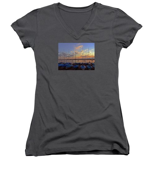 Women's V-Neck T-Shirt (Junior Cut) featuring the photograph Estuary Evening by Anne Kotan