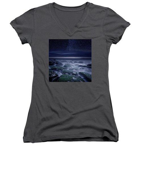 Women's V-Neck T-Shirt (Junior Cut) featuring the photograph Eternal Horizon by Jorge Maia