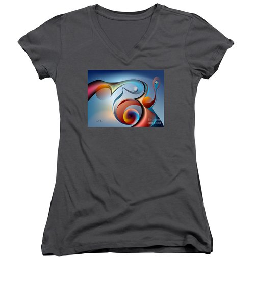 Eternal Movement - Wrapping Women's V-Neck T-Shirt (Junior Cut) by Leo Symon