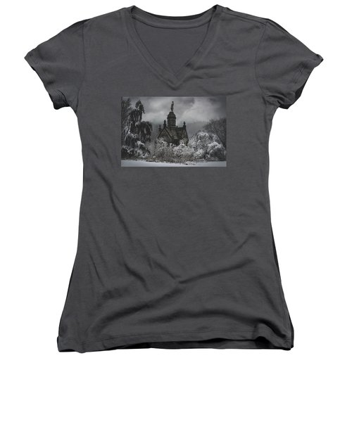 Women's V-Neck T-Shirt (Junior Cut) featuring the digital art Eternal Winter by Chris Lord