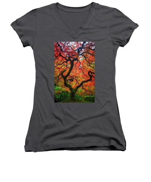 Women's V-Neck T-Shirt (Junior Cut) featuring the photograph Ethereal Tree Alive by Darren White