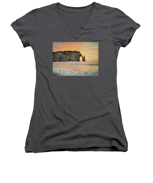 Etretat, Sunset  Women's V-Neck T-Shirt