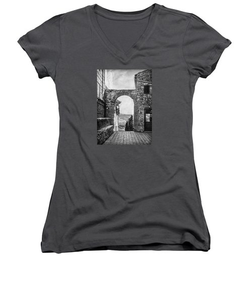 Etruscan Arch B/w Women's V-Neck T-Shirt (Junior Cut) by Hanny Heim