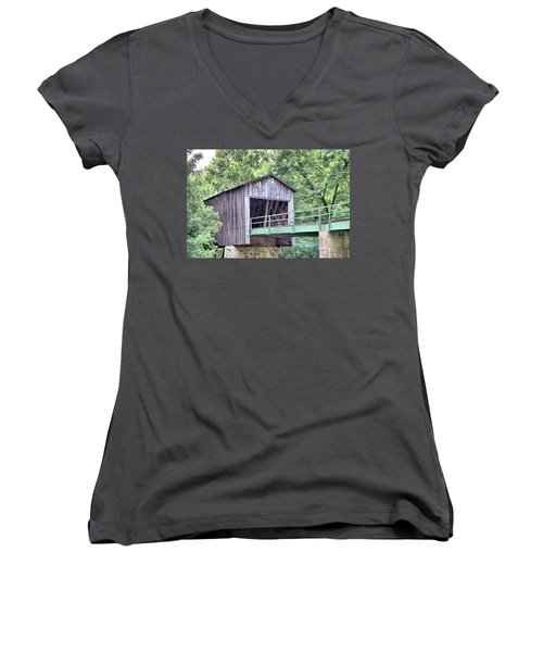 Euharlee Creek Covered Bridge Women's V-Neck T-Shirt