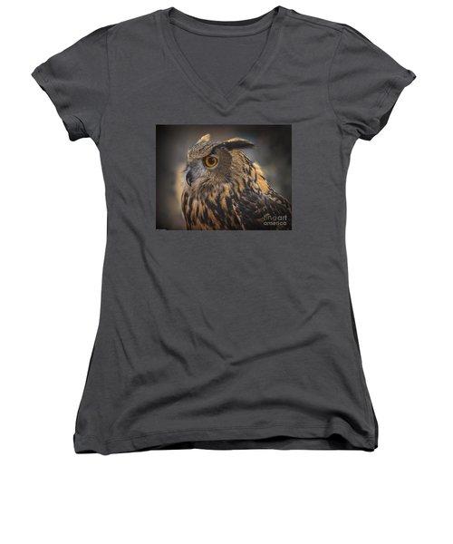 Eurasian Eagle Owl Portrait 2 Women's V-Neck T-Shirt (Junior Cut)
